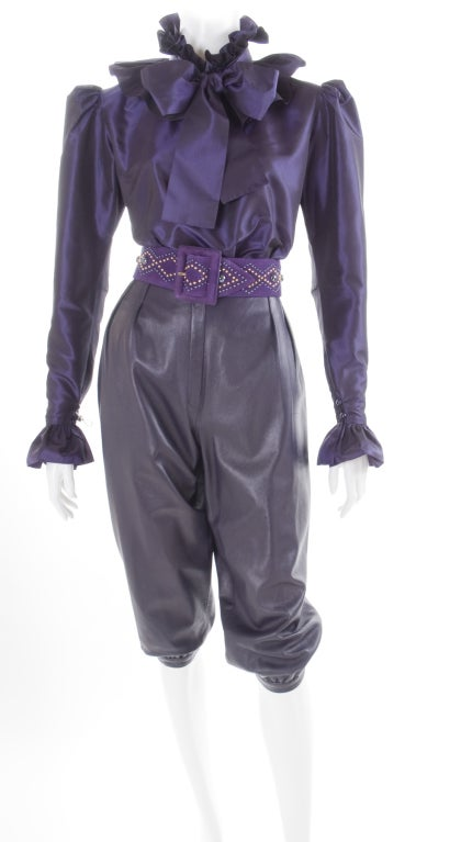 Yves Saint Laurent Leather Knee Breeches, Silk Blouse and Belt 2