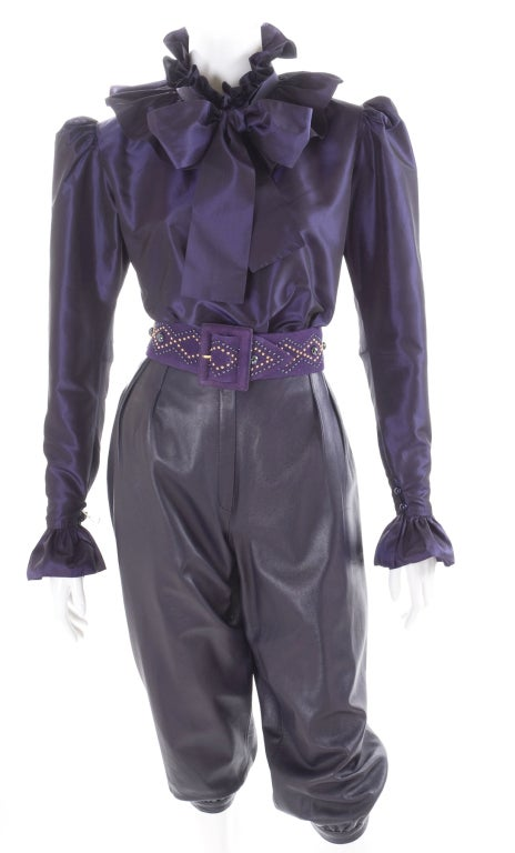 Yves Saint Laurent Leather Knee Breeches, Silk Blouse and Belt 3