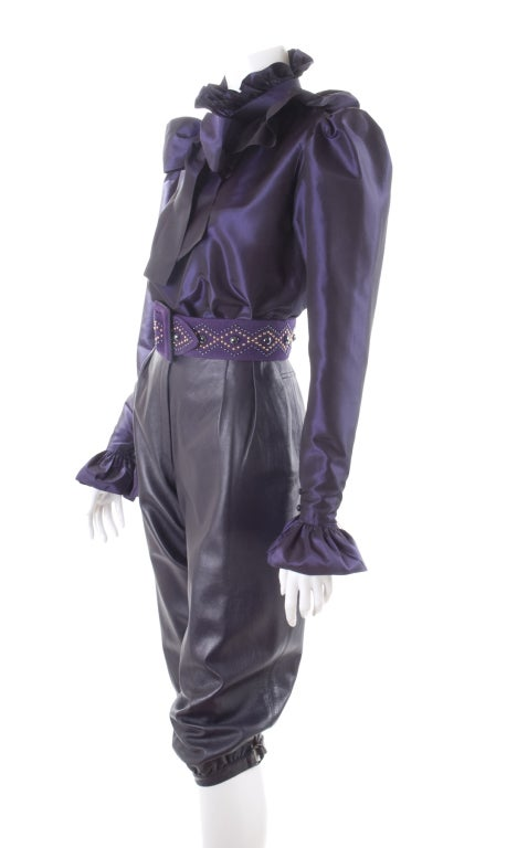 Yves Saint Laurent Leather Knee Breeches, Silk Blouse and Belt 4