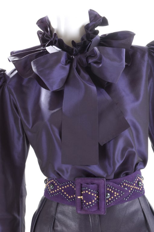 Yves Saint Laurent Leather Knee Breeches, Silk Blouse and Belt 5