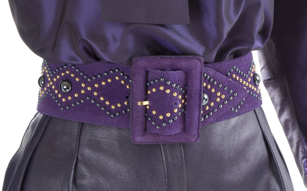 Yves Saint Laurent Leather Knee Breeches, Silk Blouse and Belt 6