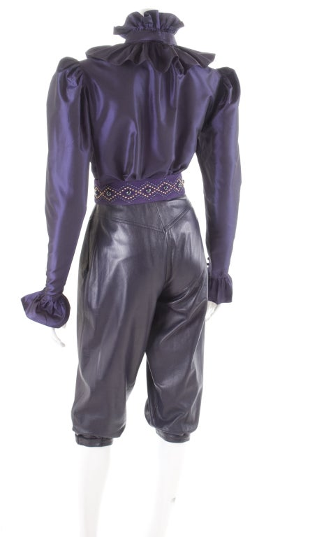 Yves Saint Laurent Leather Knee Breeches, Silk Blouse and Belt 8