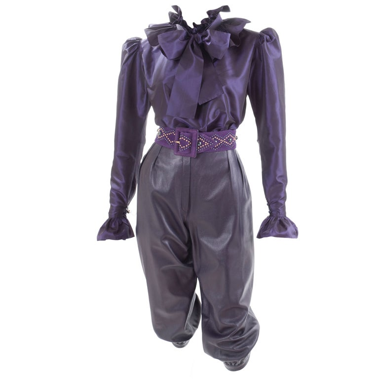 Yves Saint Laurent Leather Knee Breeches, Silk Blouse and Belt 1