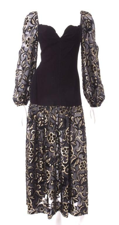 80's Yves Saint Laurent Velvet Bodice and Burnout Velvet Dress 2