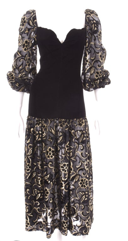 80's Yves Saint Laurent Velvet Bodice and Burnout Velvet Dress 3