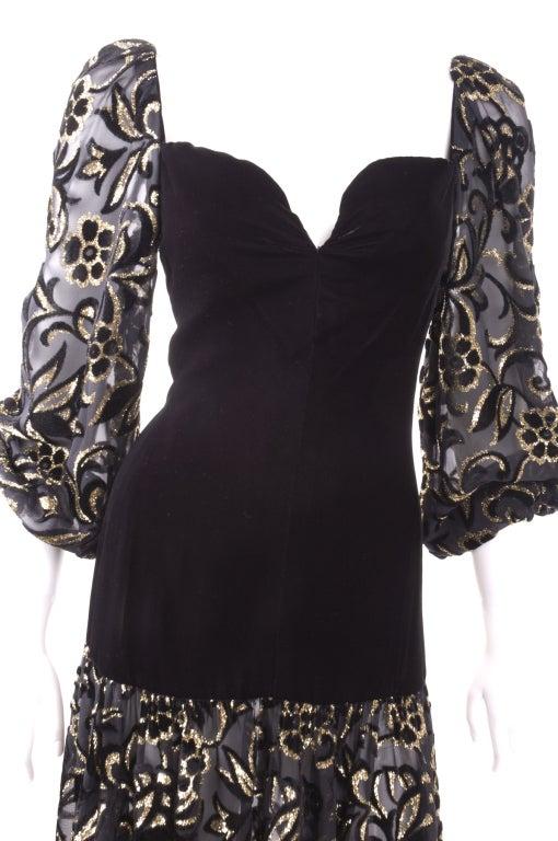 80's Yves Saint Laurent Velvet Bodice and Burnout Velvet Dress 4