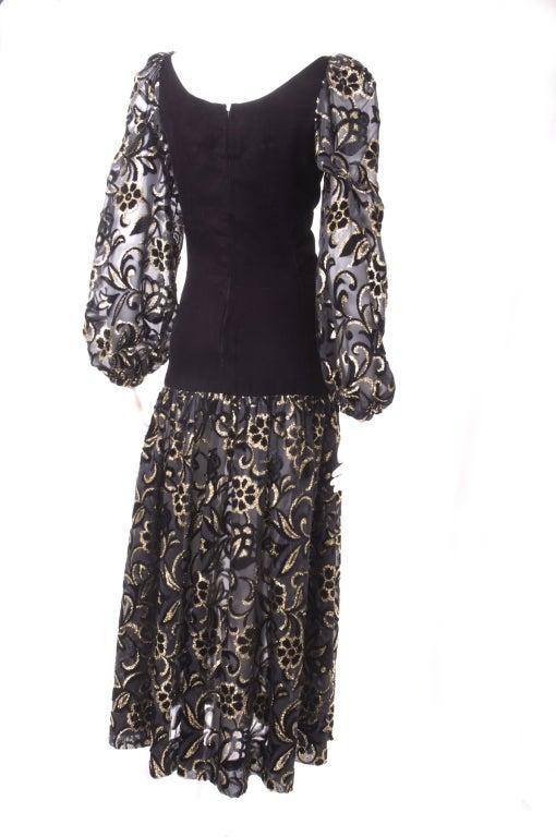 80's Yves Saint Laurent Velvet Bodice and Burnout Velvet Dress 7