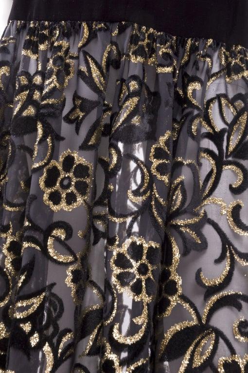 80's Yves Saint Laurent Velvet Bodice and Burnout Velvet Dress 9