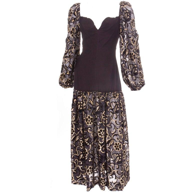 80's Yves Saint Laurent Velvet Bodice and Burnout Velvet Dress 1