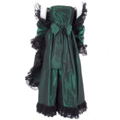 Yves Saint Laurent Green Silk Taffeta Gown and Stole
