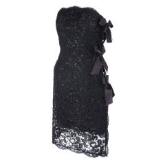 1987 Yves Saint Laurent Strapless Lace Cocktail Dress