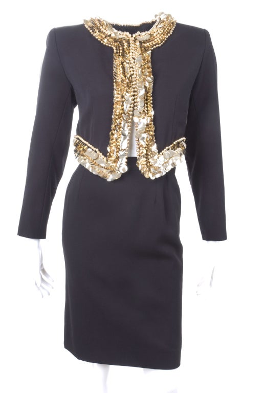 80's Yves Saint Laurent Suit with Gold Sequins 2