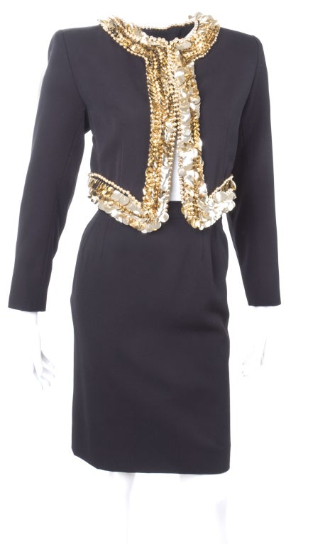 80's Yves Saint Laurent Suit with Gold Sequins 4