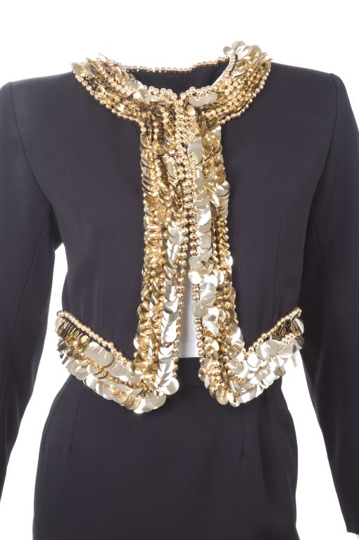80's Yves Saint Laurent Suit with Gold Sequins 5