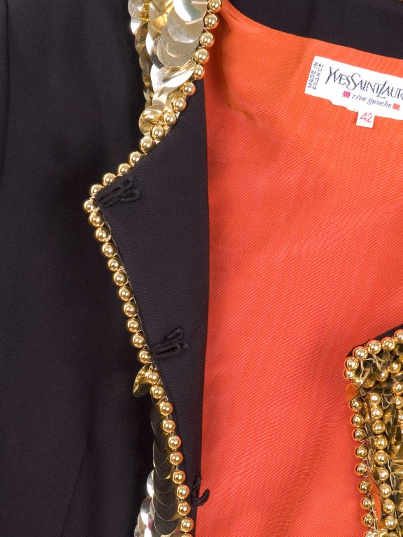80's Yves Saint Laurent Suit with Gold Sequins 8