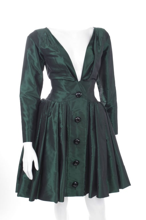1991 Yves Saint Laurent Green Taffeta Dress 3