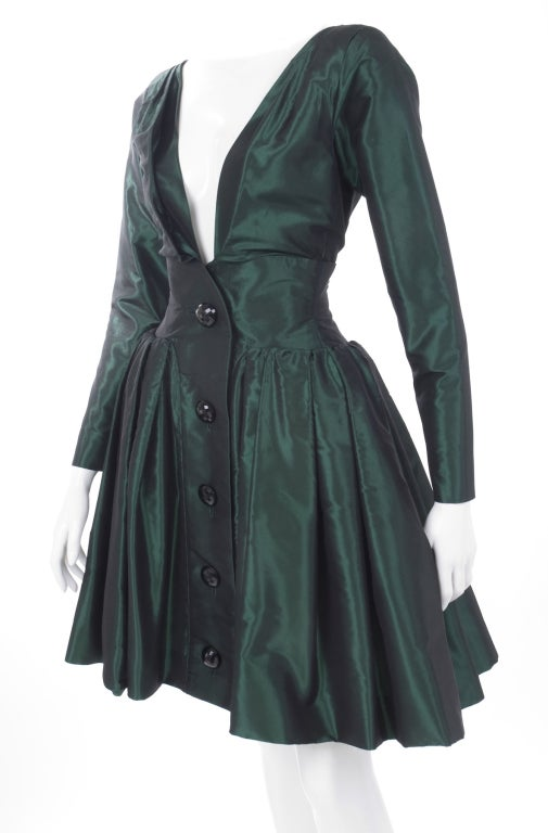 1991 Yves Saint Laurent Green Taffeta Dress 4
