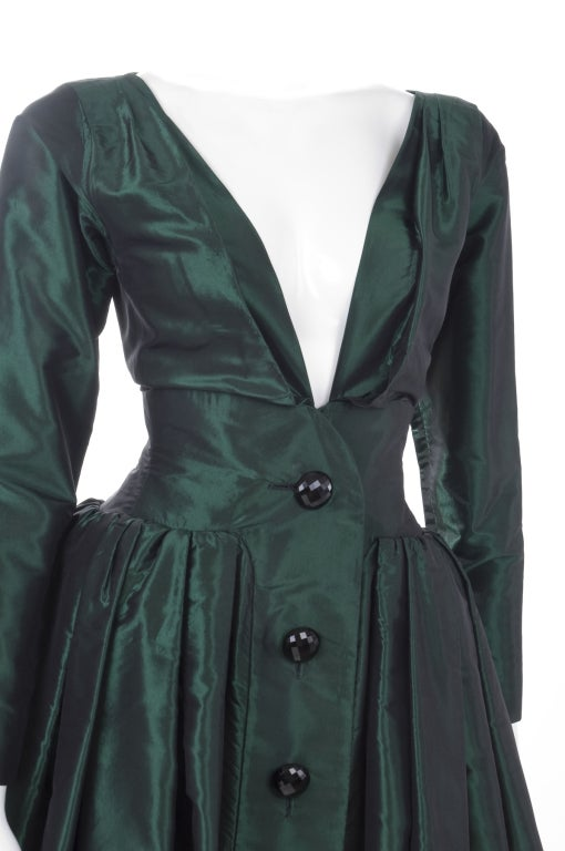 1991 Yves Saint Laurent Green Taffeta Dress 5