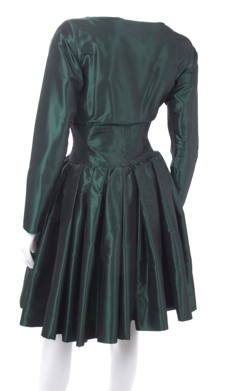 1991 Yves Saint Laurent Green Taffeta Dress 6