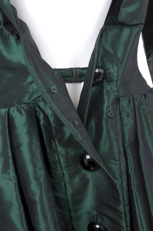1991 Yves Saint Laurent Green Taffeta Dress 7