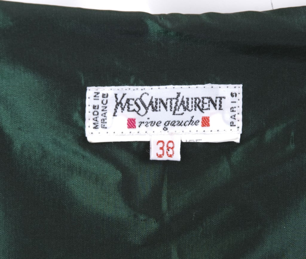 1991 Yves Saint Laurent Green Taffeta Dress 8