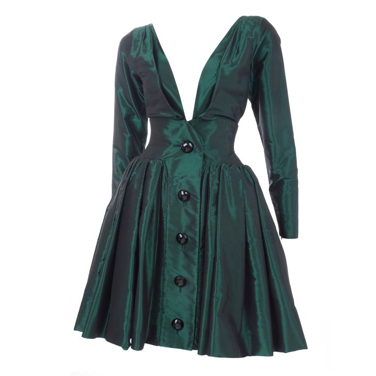 1991 Yves Saint Laurent Green Taffeta Dress 1