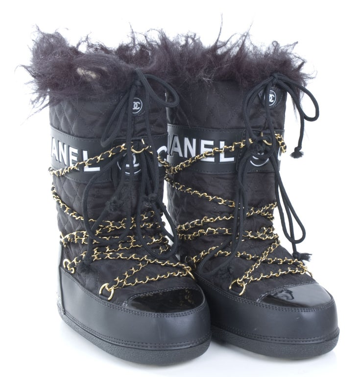 Chanel Apres Ski Moon Boots Size 5 To 7 At 1stdibs