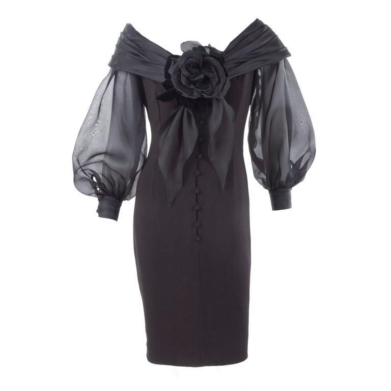 Vintage Scherrer Boutique Off Shoulder Cocktail Dress 1