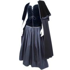 Yves Saint Laurent Taffeta Skirt with Velvet Bustier and Cape