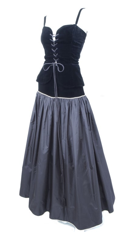 Yves Saint Laurent Taffeta Skirt with Velvet Bustier and Cape 3