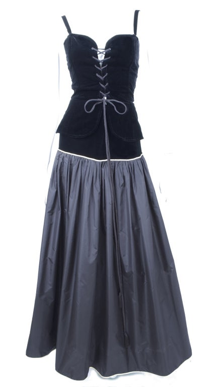 Yves Saint Laurent Taffeta Skirt with Velvet Bustier and Cape 5