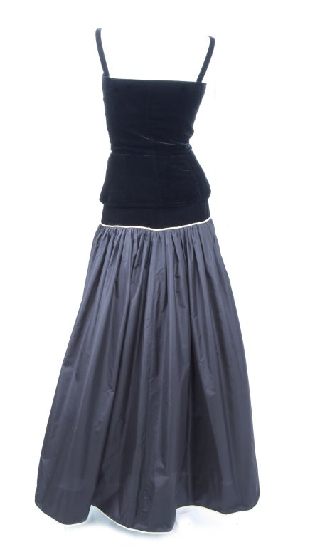Yves Saint Laurent Taffeta Skirt with Velvet Bustier and Cape 6
