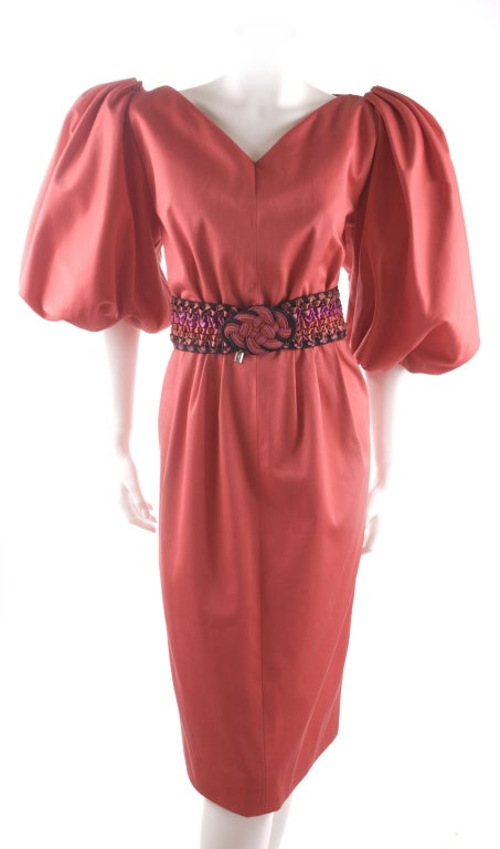 Vintage 80's Yves Saint Laurent Red Cotton Dress with Belt 2