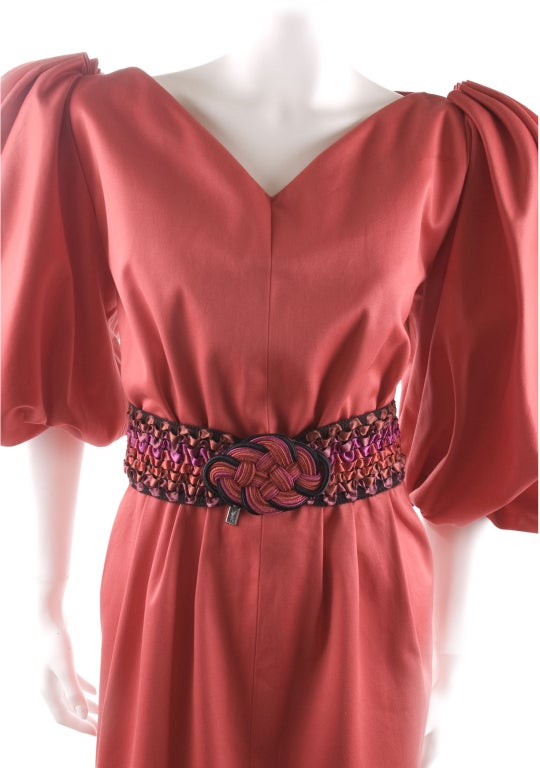 Vintage 80's Yves Saint Laurent Red Cotton Dress with Belt 3