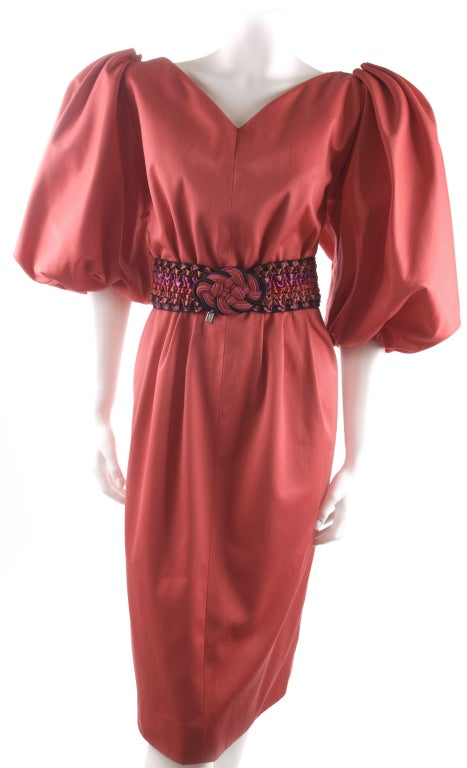 Vintage 80's Yves Saint Laurent Red Cotton Dress with Belt 6