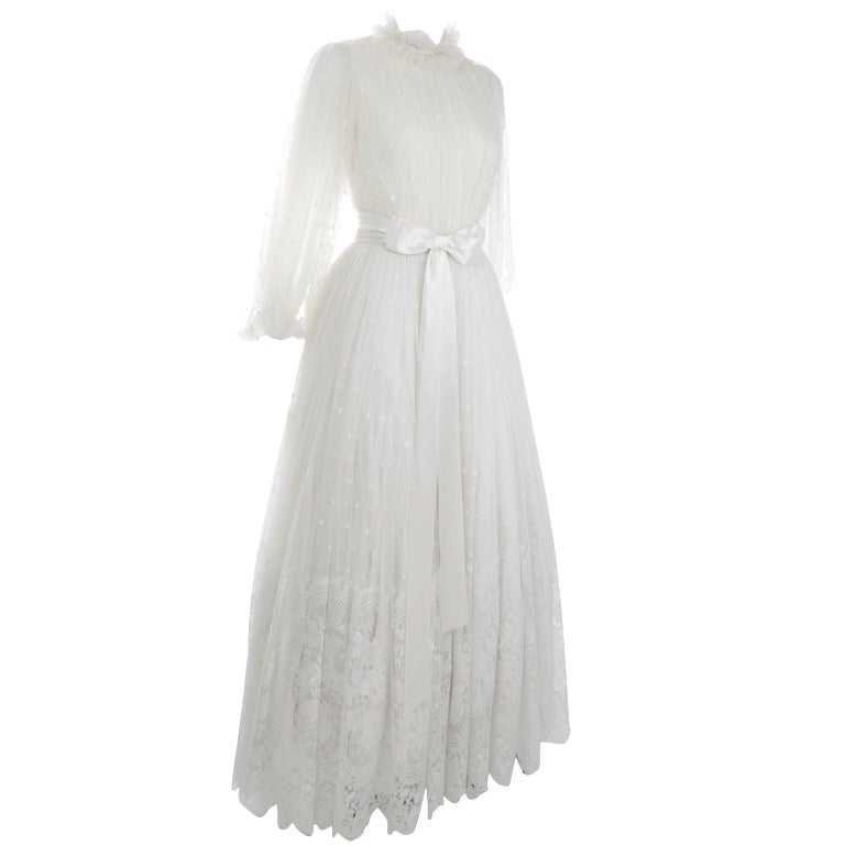 Vintage 1970 39 s jean louis scherrer calais lace wedding for 1970s wedding dresses for sale