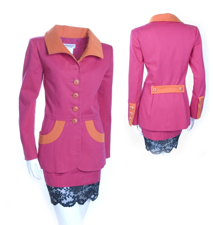 Women's Vintage 1994 Yves Saint Laurent Suit Pink and Orange Documented For Sale