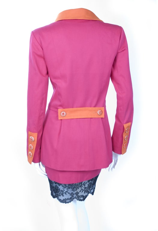 Vintage 1994 Yves Saint Laurent Suit Pink and Orange Documented For Sale 1