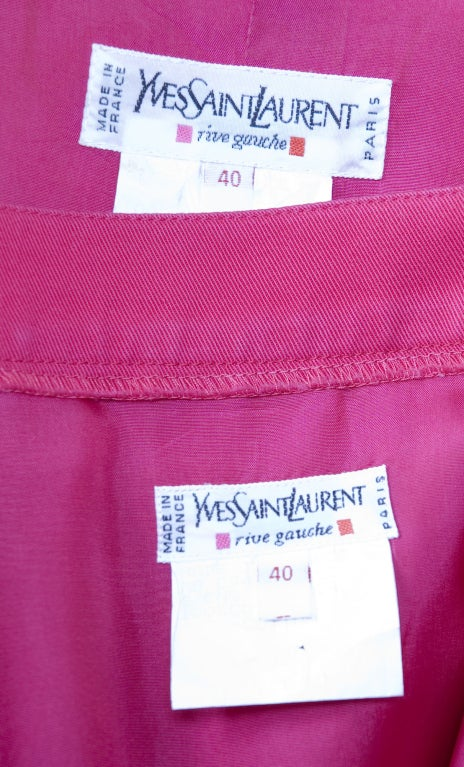 Vintage 1994 Yves Saint Laurent Suit Pink and Orange Documented For Sale 5