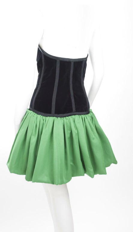 1986 Yves Saint Laurent Bustier Dress With Balloon Skirt