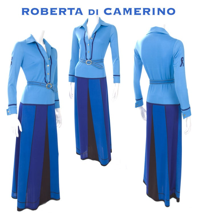 1970 Roberta Di Camerino Dress with Trompe l'oeil Print 2