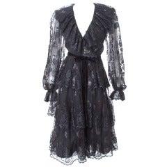 Vintage Jean Louis Scherrer Boutique Black Lace Cocktail Dress
