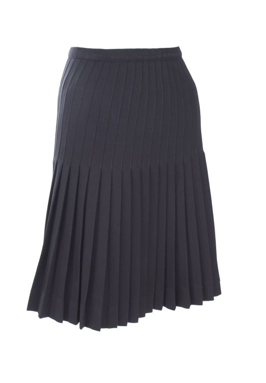 Vintage 80's Valentino Boutique Black Pleated Skirt 2