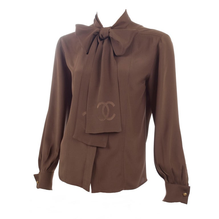 80's Chanel Boutique Chocolate Brown Silk Blouse at 1stdibs