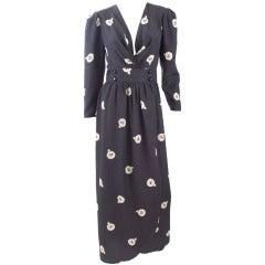 1982 Chloe Black and Creme Silk Wrap Dress