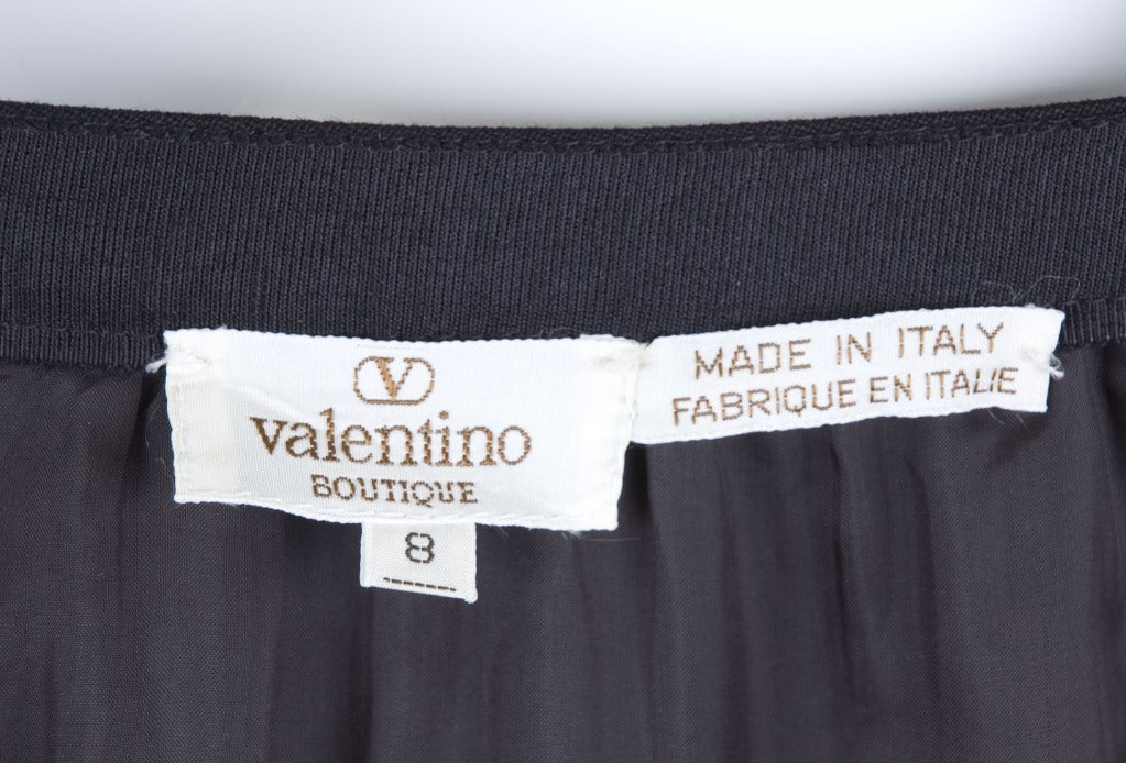 80's Valentino Boutique Black Skirt with Velvet Detailing 6