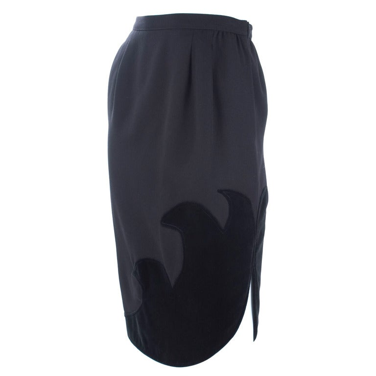80's Valentino Boutique Black Skirt with Velvet Detailing 1