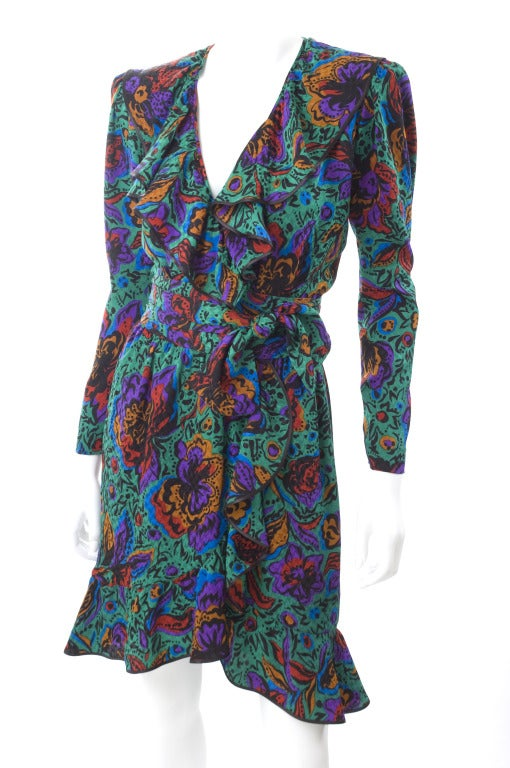 70's Vintage Yves Saint Laurent Jacquard Silk Wrap Dress in Vibrant Colors 2