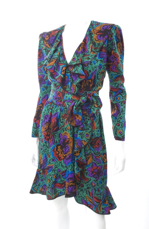 Blue 70's Vintage Yves Saint Laurent Jacquard Silk Wrap Dress in Vibrant Colors For Sale