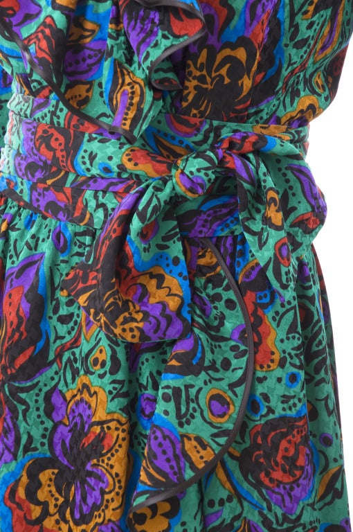 70's Vintage Yves Saint Laurent Jacquard Silk Wrap Dress in Vibrant Colors 4